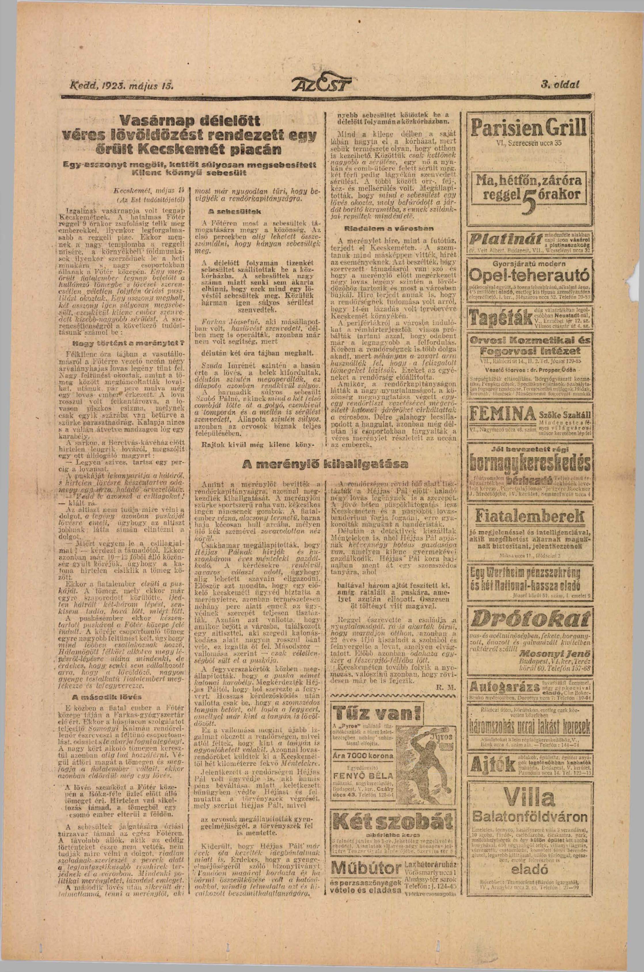 Az Est, 1923 május (14 évfolyam, 98-121 szám)  Arcanum Digitális Tudománytár-1.jpg